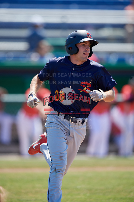 State College Spikes right fielder Justin Toerner (28) runs to first base during a game against the Batavia Muckdogs on July 8, 2018 at Dwyer Stadium in Batavia, New York.  Batavia defeated State College 8-3.  (Mike Janes/Four Seam Images)