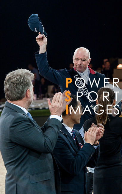 John Whitaker of United Kingdom rides Argento celebrates after winning the Longines Grand Prix during the Longines Hong Kong Masters 2015 at the AsiaWorld Expo on 15 February 2015 in Hong Kong, China. Photo by Juan Flor  / Power Sport Images