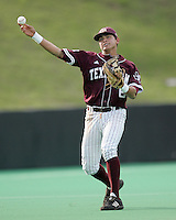 Texas A&M SS Jose Duran throws against Texas on May 16th, 2008 in Austin Texas. Photo by Andrew Woolley / Four Seam images.