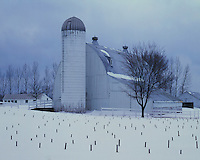 Winter scene on a farm near Traverse City; Leelanau County, MI
