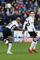 (L-R) Andre Ayew and Connor Roberts of Swansea City in action during the Sky Bet Championship match between Cardiff City and Swansea City at the Cardiff City Stadium, Cardiff, Wales, UK. Sunday 12 January 2020