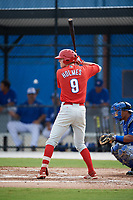 Philadelphia Phillies Jake Holmes (9) at bat during an Instructional League game against the Toronto Blue Jays on October 7, 2017 at the Englebert Complex in Dunedin, Florida.  (Mike Janes/Four Seam Images)