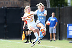 06 September 2015: North Carolina's Cameron Castleberry (21) and USC's Hailey Hite (24). The University of North Carolina Tar Heels played the University of Southern California Trojans at Koskinen Stadium in Durham, NC in a 2015 NCAA Division I Women's Soccer match. UNC won the game 2-1.