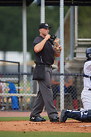 Umpire Conor McKenna during a Gulf Coast League game between the GCL Phillies West and GCL Yankees East on July 26, 2019 at the New York Yankees Minor League Complex in Tampa, Florida.  (Mike Janes/Four Seam Images)