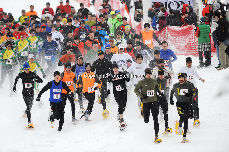 The 2011 Dion Snowshoes U.S. National Snowshoe Championship Senior Mens competitors begin their 10K run at Cable, WI, on March 12, 2011.