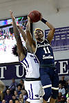 HIGH POINT, NC - JANUARY 06: Charleston Southern's Christian Keeling (11) and High Point's Denny Slay (15). The High Point University of Panthers hosted the Charleston Southern University Buccaneers on January 6, 2018 at Millis Athletic Convocation Center in High Point, NC in a Division I men's college basketball game. HPU won the game 80-59.