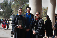 Posing after the Occidental College 125th Academic Year Convocation ceremony on August 31, 2011 outside Thorne Hall are: from right, Dean of the College & Vice President for Academic Affairs Jorge  G. Gonzalez, Graham L. Sterling Memorial Award recipient Michael G. Hill, Professor of Chemistry and The Tod & Linda White Teaching Prize recipient Kerry Thompson, Associate Professor of Biology. Regina Freer, Professor of Politics, also received the White Teaching Prize but was unable to attend. (Photo by Marc Campos, Occidental College Photographer)