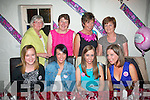 Mariota Quirke, Abbeyfeale (seated 2nd right) started her Hen night in Cassidy's, Tralee last Friday as she is to marry on September 14th next (seated) l-r: Laura Lynch, Danielle O'Leary, Mariota Quirke and Emma Walsh. Back l-r: Veronica Doyle, Eileen O'Shea, Mary Lynch and Mary Quirke.