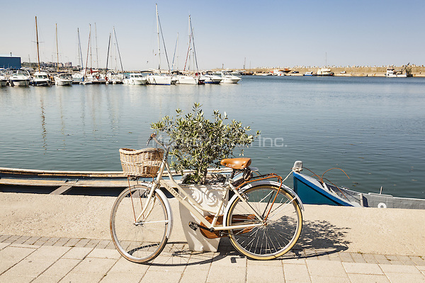 Bicycle beside the marina, Tomis Tourist Port, Constanta, Romania   June 2015<br /> CAP/MEL<br /> &copy;MEL/Capital Pictures /MediaPunch ***NORTH AND SOUTH AMERICA ONLY***