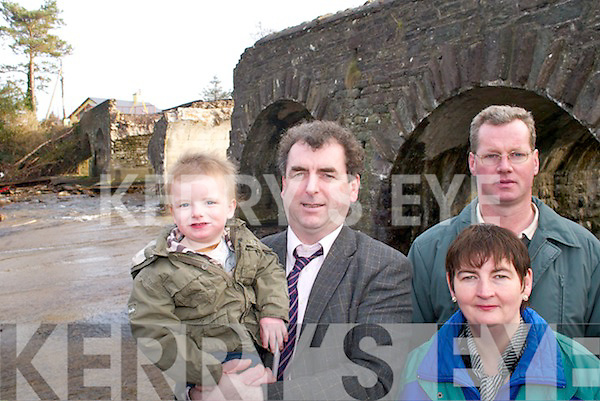 Brian Cahill, Councillor Michael Cahill, John OConnor and Bridget Ann OConnor at Gaddagh Bridge, Beaufort, on Tuesday, which was destroyed during the winter storms.