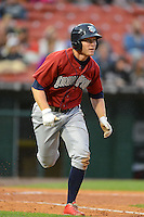 Lehigh Valley IronPigs third baseman Cody Asche #5 during the second game of a double header against the Buffalo Bisons on June 7, 2013 at Coca-Cola Field in Buffalo, New York.  Lehigh Valley defeated Buffalo 4-0.  (Mike Janes/Four Seam Images)