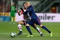 EMMEN - Voetbal, FC Emmen - Jong Ajax, Jens Vesting, Jupiler League, seizoen 2017-2018, 15-12-2017,  Jong Ajax speler Noa Lang met FC Emmen speler Kezaih Veendorp