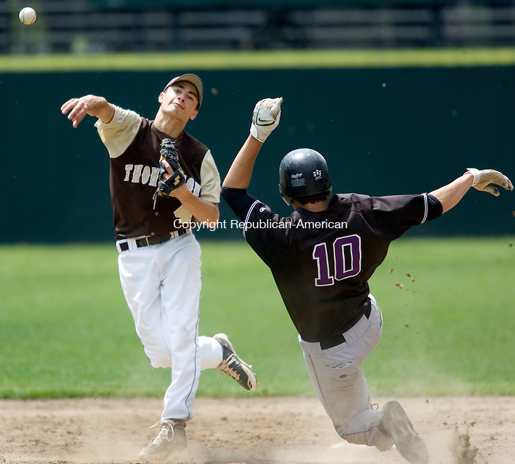 BRISTOL, CT. 01 June 2008-060108SV03--#4 Kyle Capaldo of Thomaston High tries to complete the double play as #10 Paul Dippel of East Granby was out at second during Thomaston's 1-0 win in the CIAC Class S quarterfinals at Muzzy Field in Bristol Sunday.<br />  Steven Valenti Republican-American