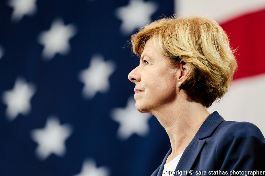 U.S. Senator Tammy Baldwin of Wisconsin attends a Democratic rally before the midterm elections in October 2018 in Milwaukee, Wisconsin.