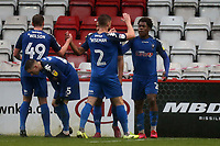 Brandon Thomas-Asante of Salford City is congratulated after scoring the first goal during Stevenage vs Salford City, Sky Bet EFL League 2 Football at the Lamex Stadium on 15th February 2020