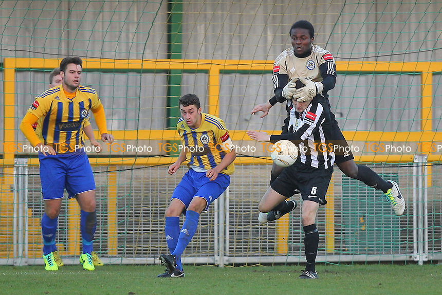 Atu Ngoy of Romford denies Matt Howard of Dereham - Romford vs Dereham Town - Ryman League Division One North Football at Ship Lane, Thurrock FC - 02/11/13 - MANDATORY CREDIT: Gavin Ellis/TGSPHOTO - Self billing applies where appropriate - 0845 094 6026 - contact@tgsphoto.co.uk - NO UNPAID USE
