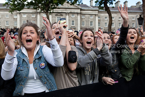 "May 23, 2011.""I can still hear these Irish girls screaming, 'Barack! Barack! Michelle! Michelle!' It reminded me of the old black and white video footage of American girls screaming at the Beatles in concert. These girls were cheering as the President and First Lady took the stage at the College Green in Dublin."" .Mandatory Credit: Pete Souza - White House via CNP"