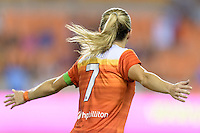 Houston, TX - Sunday Sept. 25, 2016: Kealia Ohai celebrates scoring during a regular season National Women's Soccer League (NWSL) match between the Houston Dash and the Seattle Reign FC at BBVA Compass Stadium.