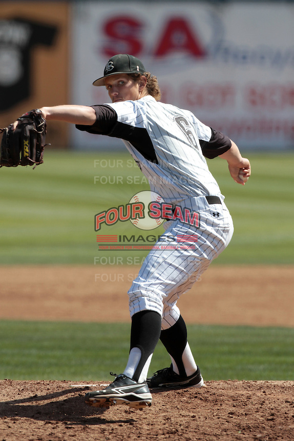 Matt Johnson #16 of the Long Beach State Dirtbags pitches against the Arizona State Sun Devils at Blair Field on March 11, 2012 in Long Beach,California. Arizona State defeated Long Beach State 6-1.(Larry Goren/Four Seam Images)