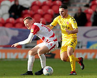 Fleetwood Town's Lewis Coyle pressures Doncaster Rovers' Alfie Beestin<br /> <br /> Photographer David Shipman/CameraSport<br /> <br /> The EFL Sky Bet League One - Doncaster Rovers v Fleetwood Town - Saturday 6th October 2018 - Keepmoat Stadium - Doncaster<br /> <br /> World Copyright &copy; 2018 CameraSport. All rights reserved. 43 Linden Ave. Countesthorpe. Leicester. England. LE8 5PG - Tel: +44 (0) 116 277 4147 - admin@camerasport.com - www.camerasport.com