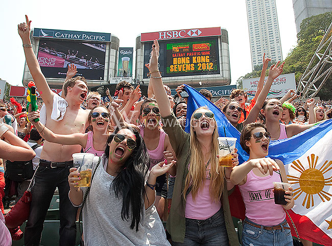 Fans get a little crazy during the Hong Kong Sevens rugby tournament.