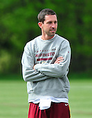 Washington Redskin Offensive Coordinator Kyle Shanahan looks on as players participate in the Washington Redskins' rookie minicamp at Redskins Park in Ashburn, Virgina on Sunday, May 5, 2013..Credit: Ron Sachs / CNP