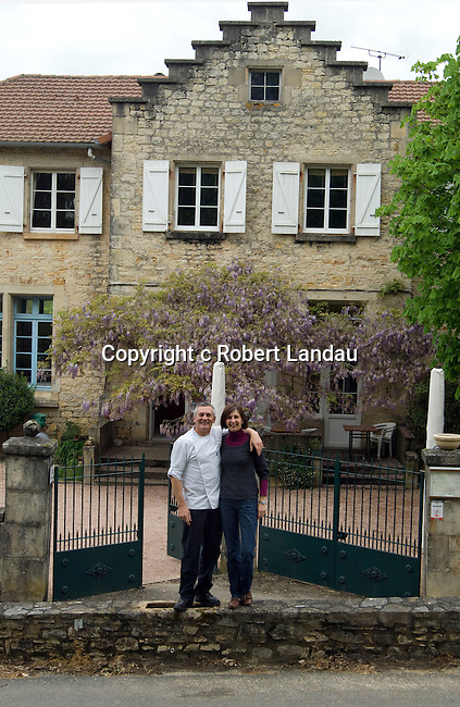 Chef Jacques Ratier and wife Noelle in front of thier  restaurant La Recreation in Les Arques, France