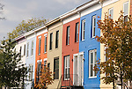 Washington DC; USA: Dupont Circle area, noted for its fountain, street musicians, bookstores, shops, embassies, and brick houses.  Colorful brick houses at Seaton Place and 17th Street NW..Photo copyright Lee Foster Photo # 21-washdc75430