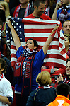 An American fan cheers for her team during the Friendly International match at Wembley Stadium, London. Picture date 28th May 2008. Picture credit should read: Simon Bellis/Sportimage
