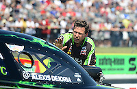 Sept. 22, 2012; Ennis, TX, USA: NHRA Del Worsham, crew chief for funny car driver Alexis DeJoria during qualifying for the Fall Nationals at the Texas Motorplex. Mandatory Credit: Mark J. Rebilas-