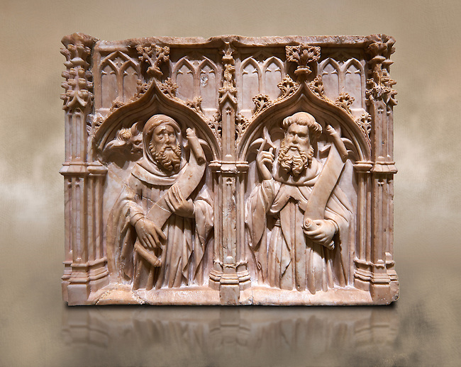 Gothic alabaster relief sculpture of two profits by Pere Oller, circa 1415, from the convent del Carme, Girona, Spain..  National Museum of Catalan Art, Barcelona, Spain, inv no: MNAC 214163
