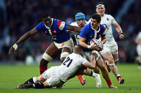 Thomas Ramos of France takes on the England defence. Guinness Six Nations match between England and France on February 10, 2019 at Twickenham Stadium in London, England. Photo by: Patrick Khachfe / Onside Images