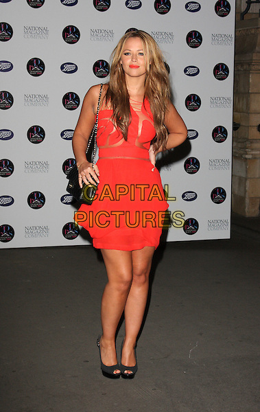 KIMBERLY WALSH - GIRLS ALOUD.30 Days of Fashion & Beauty Gala Party at the Natural History Museum, Kensington, London, England. .September 21st, 2009.full length kimberley red dress layers layered black bag purse mesh fishnet grey gray hand on hip peep toe shoes.CAP/ROS.©Steve Ross/Capital Pictures.
