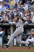 Chicago White Sox catcher Sandy Alomar Jr. bats against the Royals at Kauffman Stadium in Kansas City, Missouri on March 31, 2003. The Royals won, 3-0.