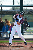 Nolan Gorman (16) of Sandra Day O'Connor High School in Glendale, Arizona during the Under Armour All-American Pre-Season Tournament presented by Baseball Factory on January 14, 2017 at Sloan Park in Mesa, Arizona.  (Art Foxall/MJP/Four Seam Images)