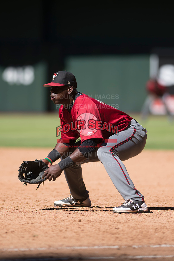 Arizona Diamondbacks first baseman Eudy Ramos (22) during an Instructional League game against the Kansas City Royals at Chase Field on October 14, 2017 in Phoenix, Arizona. (Zachary Lucy/Four Seam Images)