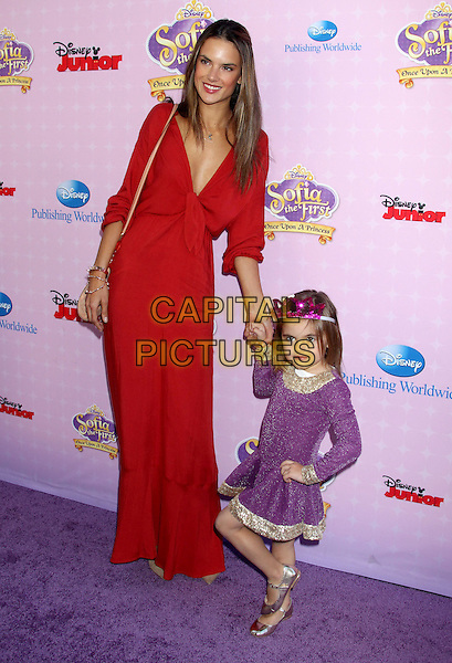 "Alessandra Ambrosio & daughter Anja.""Sofia The First: Once Upon A Princess"" Los Angeles Premiere held at Walt Disney Studios, Burbank, California, USA, 10th November 2012..full length red maxi dress mother mum mom daughter low cut holding hands purple kid child.CAP/ADM/RE.©Russ Elliot/AdMedia/Capital Pictures."