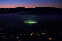 National Hockey Stadium lights on at 6.30am in Wellington, New Zealand on Monday, 18 May 2020. Photo: Dave Lintott / lintottphoto.co.nz