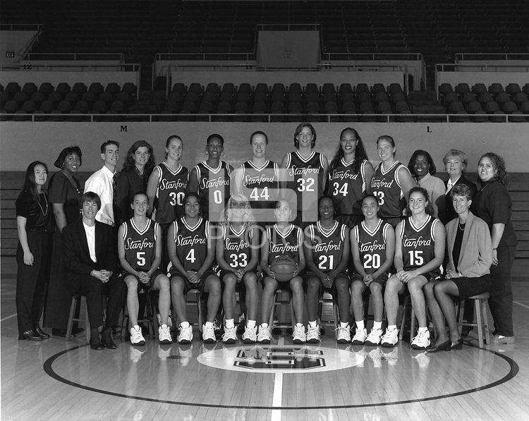 1996: Women's Basketball Team. Back Row: Mgr: Angie Nakano, Mgr. Erica Sanders, Mgr. Dave Levine, Asst. Coach Ann Enthoven, Kate Starbird, Olympia Scott, Heather Owe, Chandra Benton, Naomi Mulitauaopele, Vanessa Nygaard, Asst. Coach Angela Taylor, Trainer Kris Mack, Mgr. Marvice Thornton. Front Row: Head Coach Tara VanDerveer, Christina Bastini, Melody Peterson, Tara Harrington, Jamila Wideman, Charmin Scott, Milena Flores, Regan Freuen, Associate Coach Amy Tucker.
