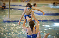 NWA Democrat-Gazette/BEN GOFF @NWABENGOFF<br /> Gina Degnan of Bella Vista and her son Chase Degnan, 7, play in the leisure pool Sunday, June 18, 2017, at the Bentonville Community Center.