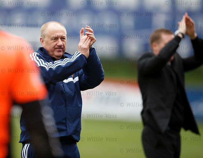 Billy Brown applauds the Hearts fans at full time