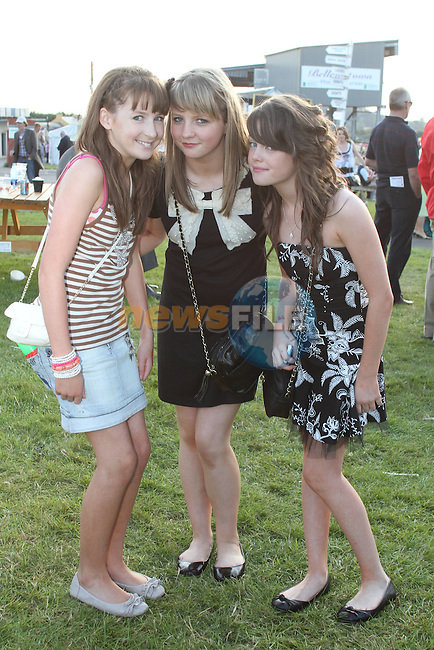 Rachel Heneghan, Chloe Downey and Emma Thompson from Drogheda at the Bellewstown Races...Picture Jenny Matthews/Newsfile.ie
