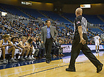Nevada head coach Steve Alford talks to an official during a time out in their game against Colorado Christian played on Wednesday night, October 30, 2019 at Lawlor Events Center in Reno.