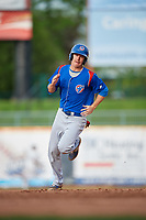 South Bend Cubs first baseman Jared Young (16) runs the bases during the first game of a doubleheader against the Lake County Captains on May 16, 2018 at Classic Park in Eastlake, Ohio.  South Bend defeated Lake County 6-4 in twelve innings.  (Mike Janes/Four Seam Images)