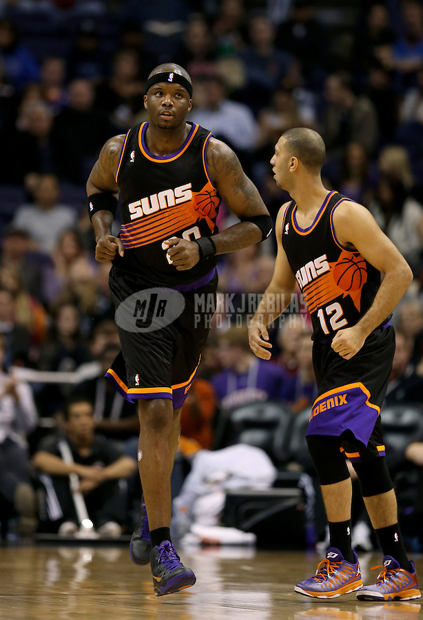 Feb. 10, 2013; Phoenix, AZ, USA: Phoenix Suns center Jermaine O'Neal against the Oklahoma City Thunder at the US Airways Center. Mandatory Credit: Mark J. Rebilas-