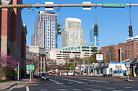 Morning view of the skyline of White Plains, New York from the intersection of  Westchester Avenue and Bloomingdale Road.