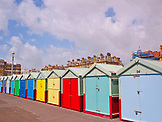 ENGLAND, Brighton, Painted Beach Cabins in Hove Lawns