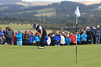 Caroline Hedwall Team Europe on the 7th green during Day 1 Fourball at the Solheim Cup 2019, Gleneagles Golf CLub, Auchterarder, Perthshire, Scotland. 13/09/2019.<br /> Picture Thos Caffrey / Golffile.ie<br /> <br /> All photo usage must carry mandatory copyright credit (© Golffile | Thos Caffrey)