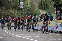 Dylan Teuns (BEL/BMC) leads the chase of the peloton. <br /> <br /> 53th Amstel Gold Race (1.UWT)<br /> 1 Day Race: Maastricht &gt; Berg en Terblijt (263km)