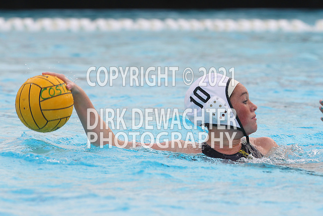 Manhattan Beach, CA 02/16/11 - Risa Burke (Edison #10) in action during the 2011 first round CIF girls waterpolo playoffs between Edison and Mira Costa.